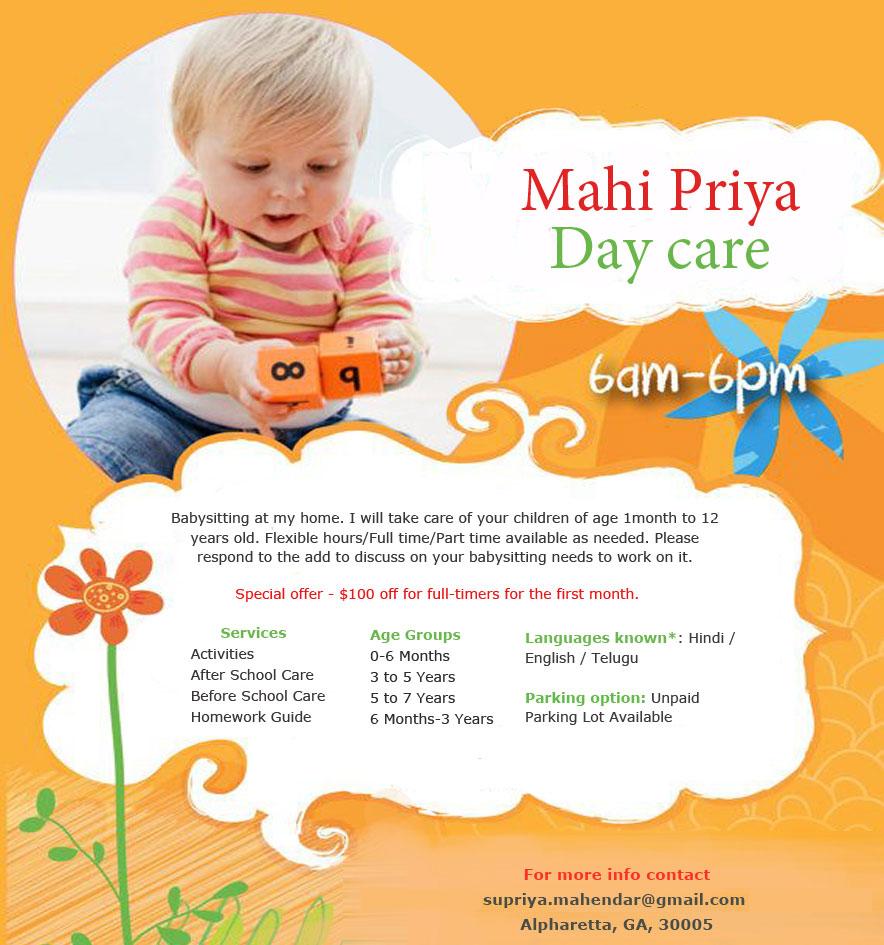 Mahi Priya Daycare - Day Care Center in Alpharetta, GA   Sulekha